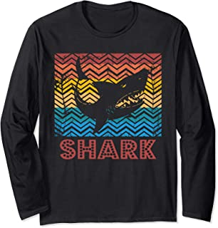 Vintage Retro Shark Silhouette Long Sleeve T-Shirt