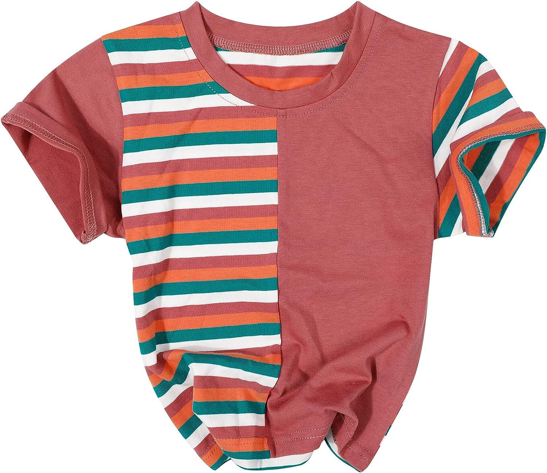 Toddler Baby Boy Girl Tshirt Clothes Round Neck Triple Color Block Stripe Shirt Summer Short Sleeve Tee Top