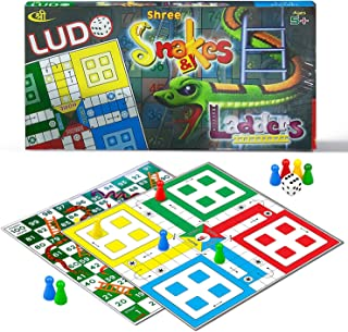 Kids Mandi Ludo Snake and Ladder Deluxe Board Game for Fun - Family Friends Entertainment Game