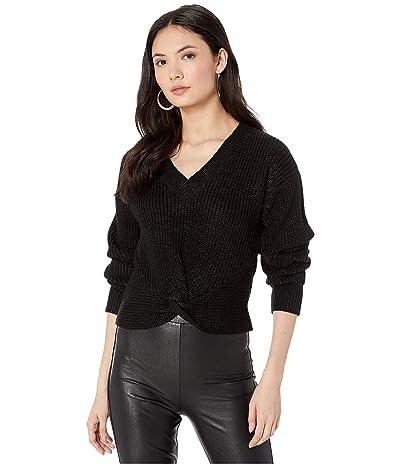 WAYF Varsity Knot Front Sweater (Black) Women
