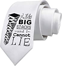 TooLoud I Like Big Stacks -of books- Printed White Neck Tie