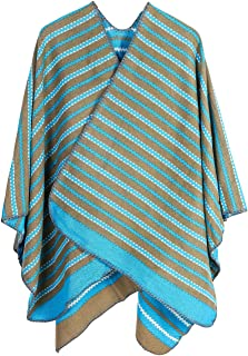 XueXian Women Ladies Wavy Pattern Cape Striped Poncho Wrap Shawl Scarves