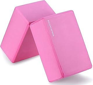 "BalanceFrom GoYoga Set of 2 High Density Yoga Blocks, 9""x6""x4"" Each (Pink)"