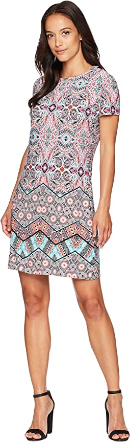 Matte Jersey Chevron Mosaic Short Sleeve Sheath Dress