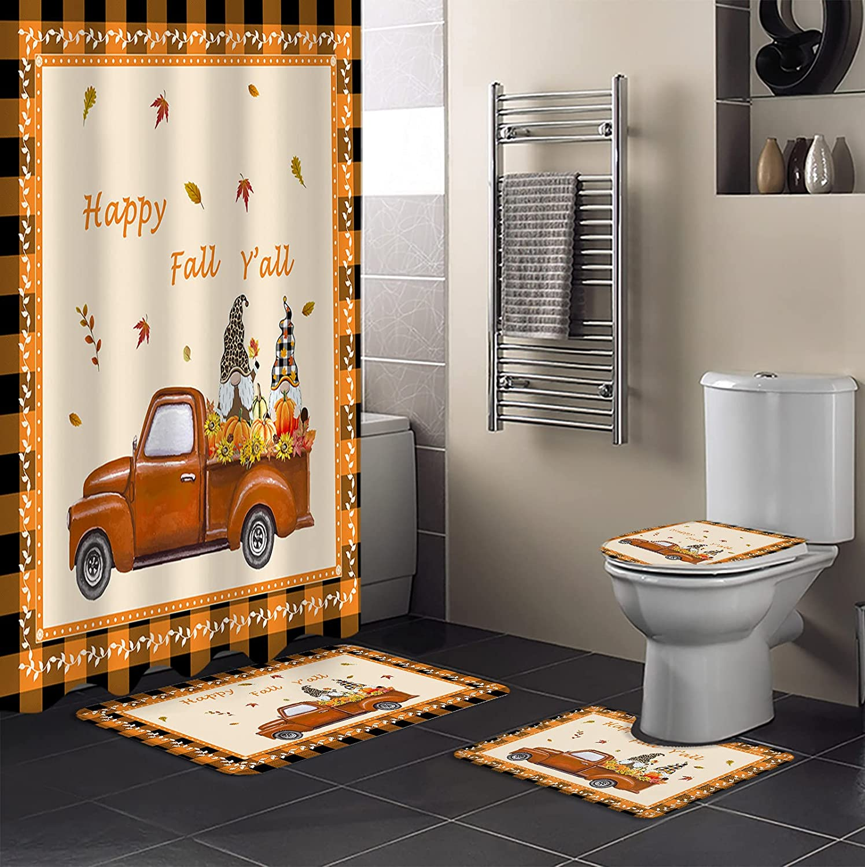 free CyCoShower Waterproof Shower Max 68% OFF Curtains Set 4-Piece Bath H Rug