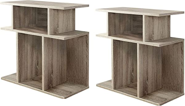 Monarch Specialties 24 Reclaimed Wood Hollow Side Accent Table Taupe 2 Pack