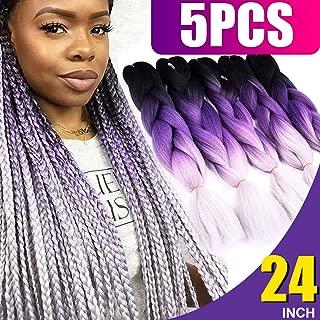 Silike (5 Pieces) Jumbo Braid Kanekalon Hair 24 Inch Omber Jumbo Braiding Hair Extensions (Black/Purple/Grey)