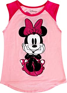 Disney Minnie Mouse Shirt, Youth Girl's Pastel Pink Raglan Front Back Tank Top