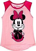 Disney Youth Girls Raglan Front Back Tank Top Minnie Dots Sitting Pastel Pink