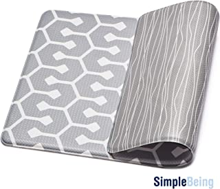 Simple Being Anti Fatigue Kitchen Floor Mat, Comfort Heavy Duty Standing Mats, Ergonomic Non-Toxic Waterproof PVC Non Slip Washable For Indoor Outdoor Home Office (Grey Geometric, 32