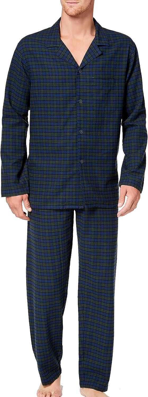 Club Room Mens Sleepwear Green Small Plaid Flannel Pajama Set Blue S