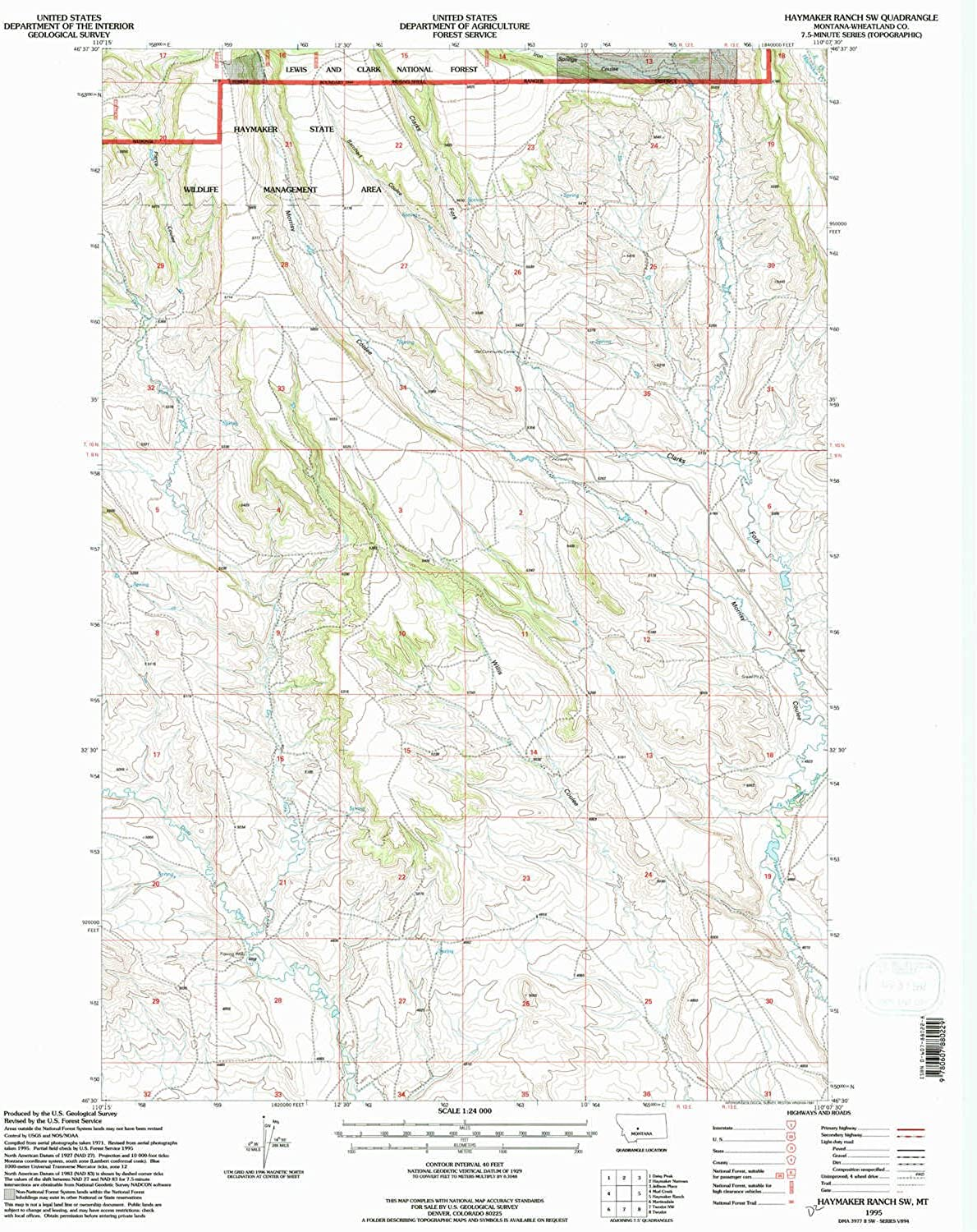 Haymaker Ranch SW MT topo map, 1 24000 Scale, 7.5 X 7.5 Minute, Historical, 1995, Updated 1997, 26.8 x 22.1 in