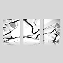 Art Maison Canada DANH68S31216 Abstract Black and White Giclee Gallery Wrapped Canvas Wall Art |Modern Décor for Home and Office | Ready to Hang |Set of 3(12x16INCH)