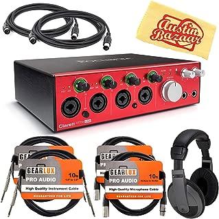 Focusrite Clarett 4Pre USB Audio Interface Bundle with Headphones, Instrument Cables, XLR Cables, MIDI Cables, and Austin Bazaar Polishing Cloth