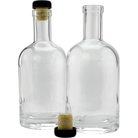 12-Ounce Liquor Bottles (2-Pack); Clear Glass Bottles w/T-Top Synthetic Corks