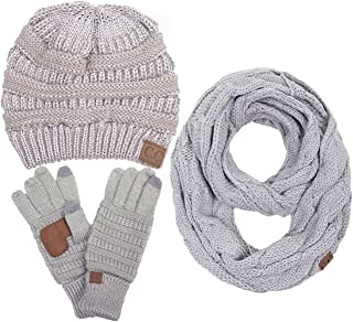 ScarvesMe 3pc Set Trendy Warm Chunky Soft Stretch Cable Knit Beanie Scarves Gloves Set