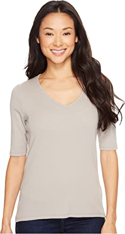 Lilla P Elbow Sleeve V-Neck