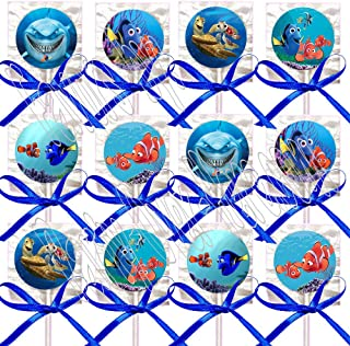 Finding Nemo Lollipops Party Favors Supplies Decorations Movie Lollipops w/Royal Blue Ribbon Bows -12 pcs Dory, Marlin, Nigel