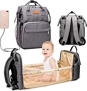 XDW-GIFTS 3 in 1 Travel Foldable Baby Bed Diaper Bag,Diaper Backpack Changing Station,Built-in USB Charging Port and Strol...