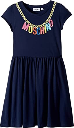 Moschino Kids Short Sleeve Logo Necklace Graphic Dress (Big Kids)