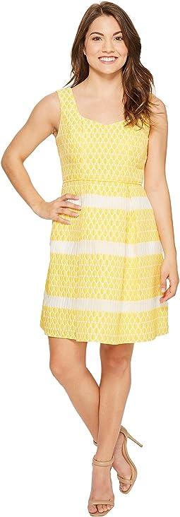 Petite Lemon Drop Jacquard Fit and Flare Dress