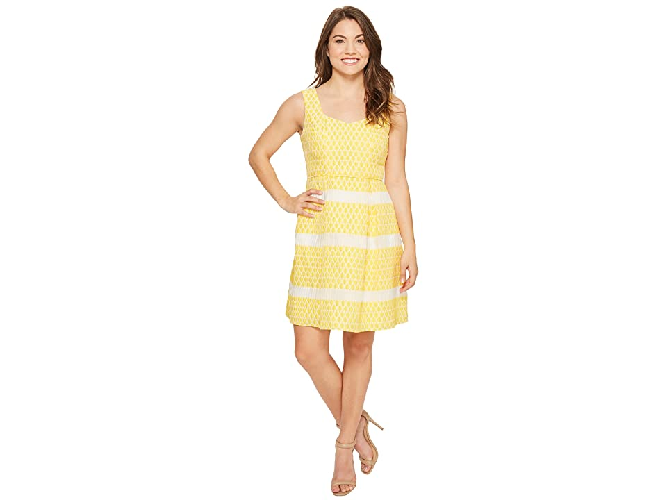 Adrianna Papell Petite Lemon Drop Jacquard Fit and Flare Dress (Yellow/Ivory) Women