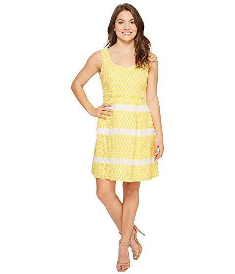 Adrianna Papell Petite Lemon Drop Jacquard Fit and Flare Dress at 6pm