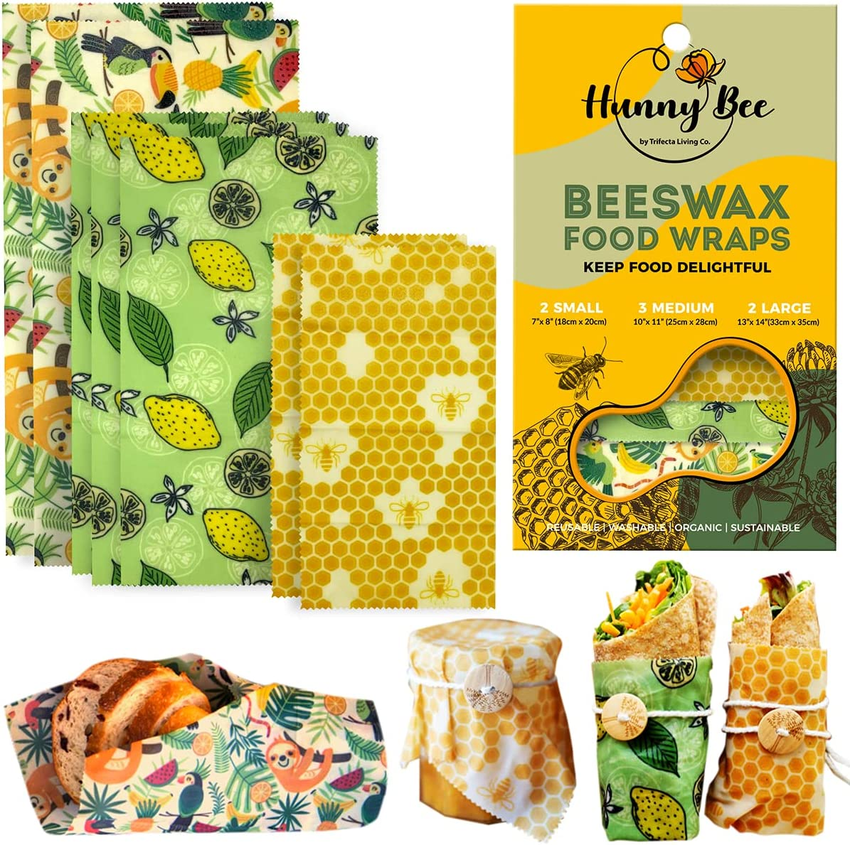 HUNNYBEE Reusable Beeswax Wrap (7 packs) | Beeswax Wraps for Food | Organic Bees Wax | Reusable Sandwich Wrap | Sustainable Gifts | Beewax Wrapping with Natural Jojoba Oil