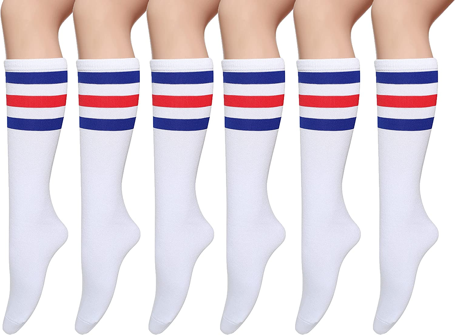 Pareberry Casual Cotton Solid & Triple Stripe Colors Knee High Tube Socks-3 Pairs