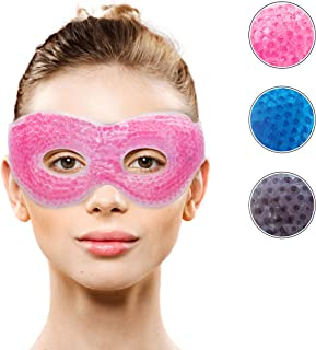 Gel Eye Mask with Eye Holes- Hot Cold Compress Pack Eye Therapy   Cooling Eye Mask for Puffy Eyes, Dry Eyes, Headaches, Mi...