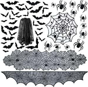 PiPiPrawn 6pack Halloween Tablecloth Halloween Fireplace Mantel Scarf & Round Table Cover & Lace Table Runner & Cobweb Lampshade with 32pcs Scary 3D Bat 12pcs Scary 3D Spider for Halloween Party