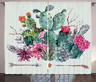 Ambesonne Cactus Curtains, Spring Garden with Boho Style Bouquet of Thorny Plants Blossoms Arrows Feathers, Living Room Bedroom Window Drapes 2 Panel Set, 108