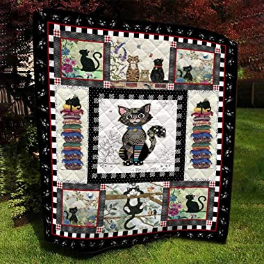 Cat Embroidery Pattern Quilt, Custom Your Quilt All Season Quilt, Cotton Quilt King Queen Twin Throw Size - Best Gifts for Mo