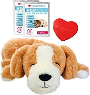 Calmeroos Puppy Heartbeat Toy Sleep Aid with 2 Long-Lasting Heat Packs Last 36 Hours Each Puppy Anxiety Relief Soother Dog...