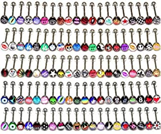 "Coolrunner Lot of Surgical Steel Metal Tongue Rings Barbells Funny Nasty Wordings Picture Logo Signs 14g - Length 5/8"" or 16mm (50)"