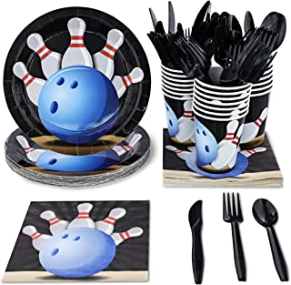 Juvale Kids Bowling Birthday Party Supplies Set - Plates, Knives, Spoons, Forks, Napkins, and Cups, Serves 24