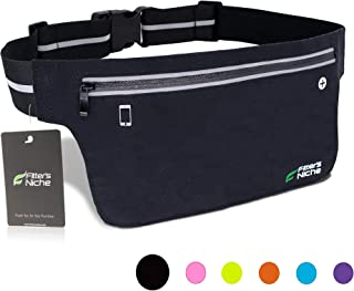 Ultra Slim Fanny Packs Running Belt, Water Resistant Lightweight Phone Holder Fitness Workout Exercise Waist Pouch Bag for iPhone X XS 8 Samsung Note in Biking Walking Hiking Gym Sports