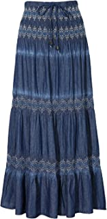 Maxi Cotton Skirt Women's Bohemian Flared Tiered Elastic High Waisted Long Denim Jean Skirts