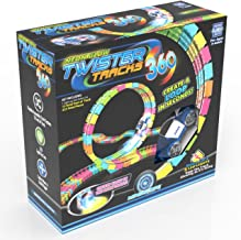 Mindscope Twister Tracks Trax 360 Loop 13' (feet) of Neon Glow in The Dark Track with One LED Light-Up Emergency Vehicle Series Car