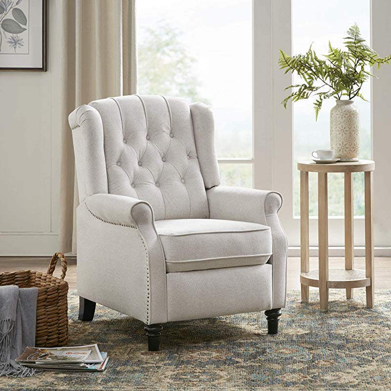 YANXUAN Pushback Recliner Chair Tufted Armchair With Padded Seat Backrest Nailhead Trim Cream