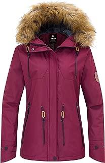 Wantdo Women's Waterproof Ski Fleece Jacket Mountain Parka Warm Faux Fur Collar