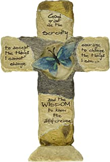 Carson Home Accents 12902 Serenity Prayer Earth Stone Cross, 11-Inch by 7-1/2-Inch