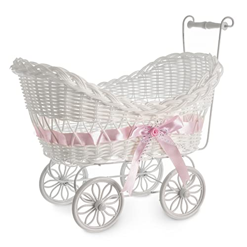 6455b65ef1a5 LIVIVO White Baby Pram Wicker Hamper Basket with Handles Wheels and  Colourful Satin Ribbon Bow Perfect
