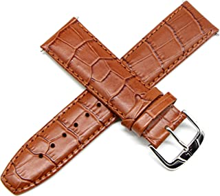 Jacques Lemans 22MM Alligator Grain Genuine Leather Watch Strap 8 Inches Brick Brown Silver JL Buckle