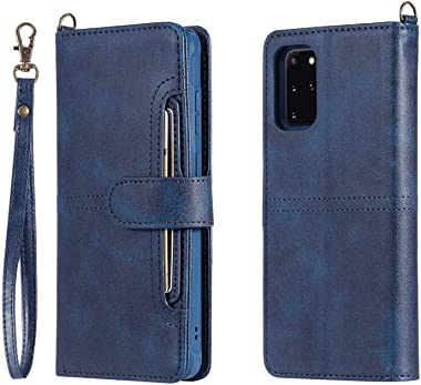 RuiJinHao Samsung Galaxy Note10 Plus Note 10+ Flip Case Leather Cover Extra-Durable Business Mobile Phone case Wallet Multi-Function Card Slot Anti Fall (Blue)