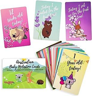Baby Milestone Cards – 30 Unisex Baby Australian Animal Cards - Unique Baby Shower or Newborn Gift - Australian Animal Car...