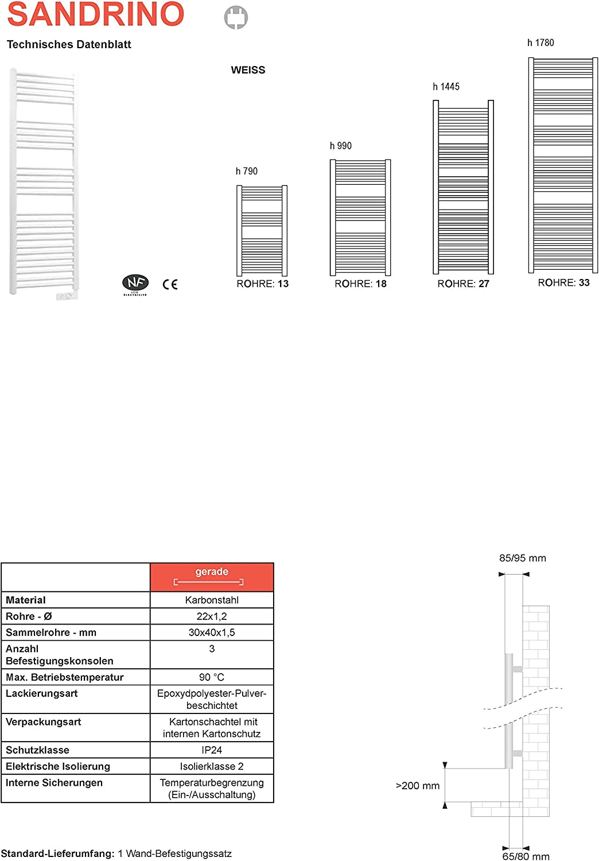 790 mm x 400 mm Toallero el/éctrico Sandrino con termostato electr/ónico