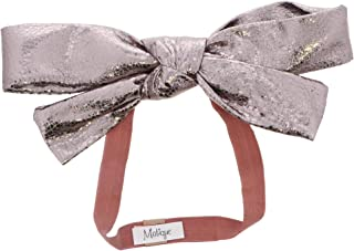 Baby Girl Headband with Metallic Pleather Bow- Silver