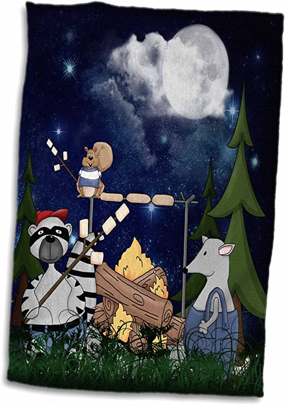 3D Rose Raccoon Squirrel And Opossum Camping With A Campfire And Marshmallows Hand Sports Towel 15 X 22