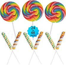 24 Lollipops Rainbow Variety Pack - Back-to-School Candy Sale - Individually Wrapped Party Favor Treats for Kids | 12 Twis...